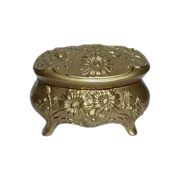Victorian Art Nouveau Floral Design Metal Trinket Box