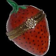 Vintage Limoge France Porcelain Strawberry Fruit Trinket Box