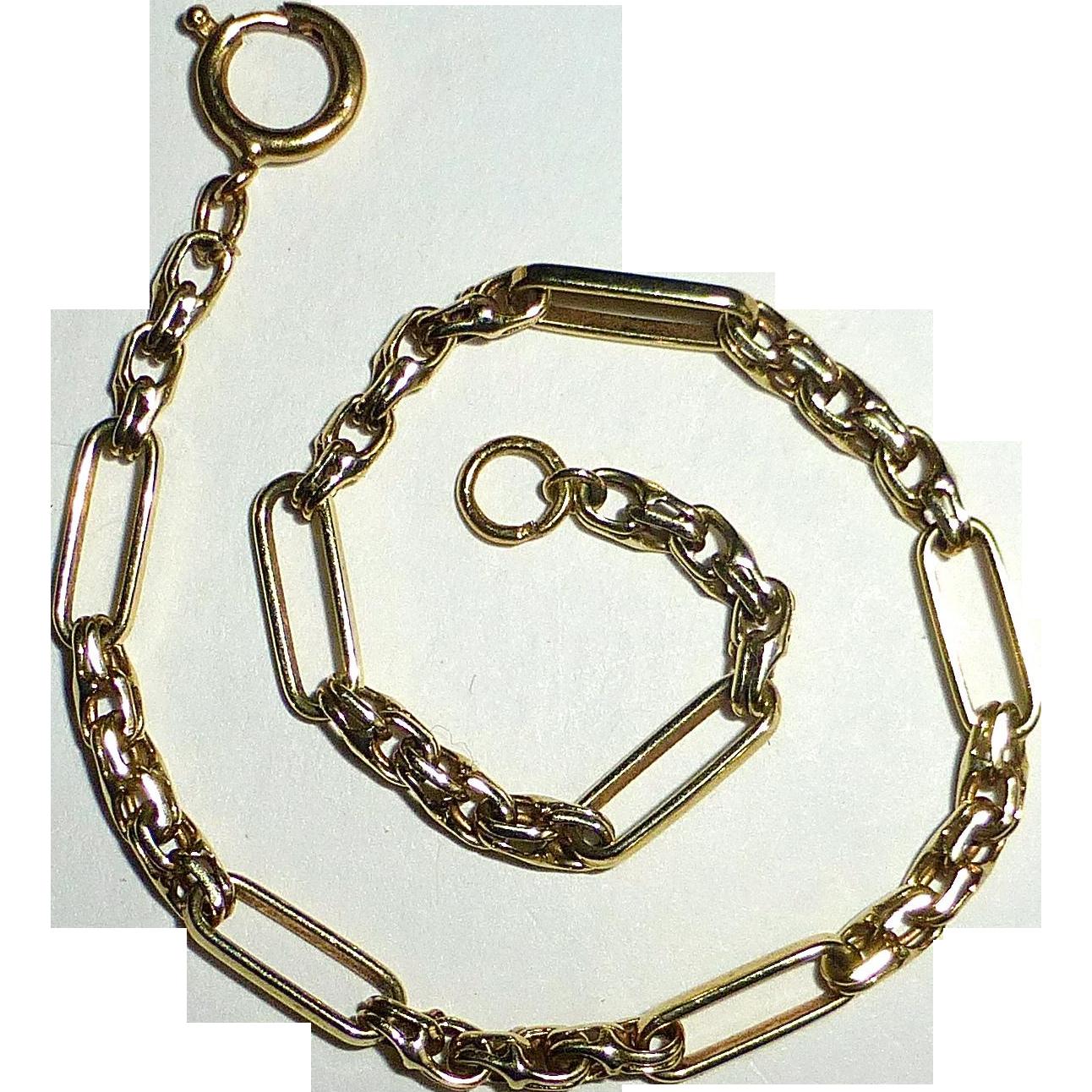 14k Old Long/Short Link Bracelet