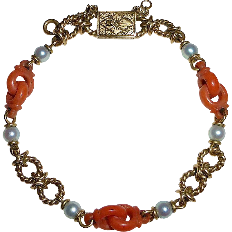 Superb 19k Carved Coral & Pearl Bracelet