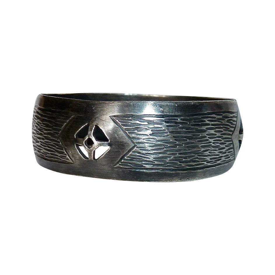 Arts & Crafts Handcrafted 800 Silver Wide Bangle Bracelet