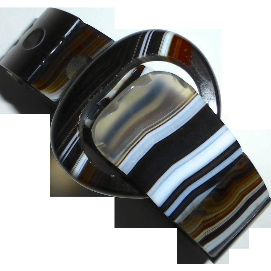 Scottish Striped Agate Buckle Bracelet