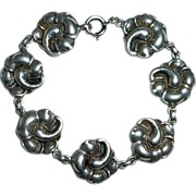 Viking Craft Sterling Hibiscus Flower Link Bracelet