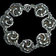 Viking Craft Sterling Hibiscus Flower Link Bracelet