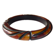 Art Deco Carved End-of-the-Day Bakelite Bracelet w Resin Wash