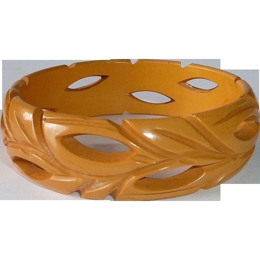Bakelite Carved & Pierced Light Butterscotch Bangle Bracelet