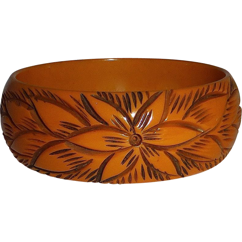 Butterscotch Carved Daisy Bakelite Bracelet