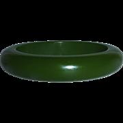Chunky Green Bakelite Oval Bangle Bracelet