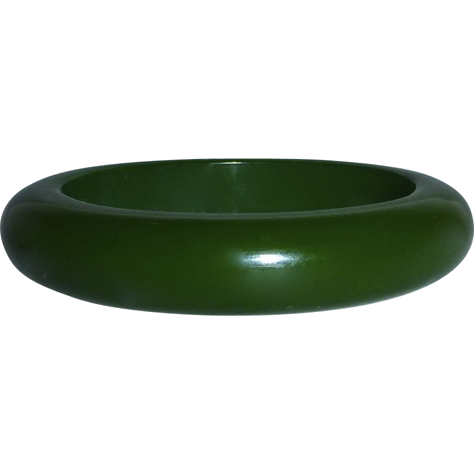Chunky Green Bakelite Oval Bangle Bracelet