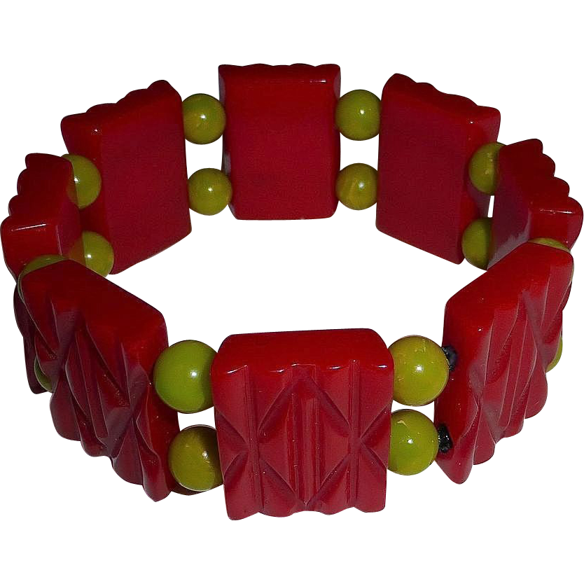 Carved Red Bakelite Panel Stretch Bracelet