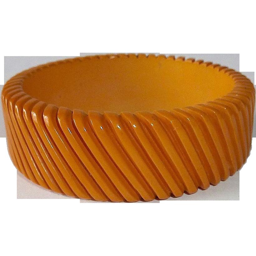 Carved Diagonal Lines Butterscotch Bakelite Bangle Bracelet