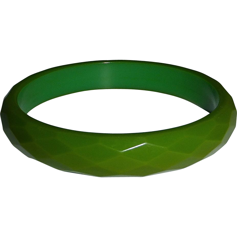 Bakelite Faceted Green Bangle Bracelet
