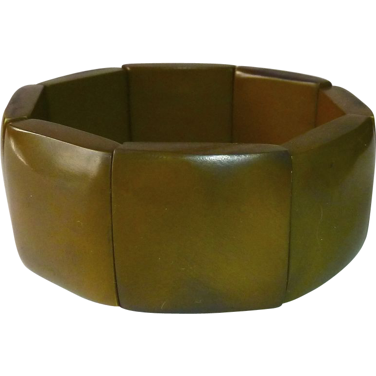 Rusty Olive Bakelite Wide Panel Stretch Bracelet