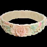 Art Deco Tinted Floral Molded Celluloid Bangle Bracelet