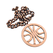 Copper Heavy Curb Chain Bracelet w Lg Modernist Charm