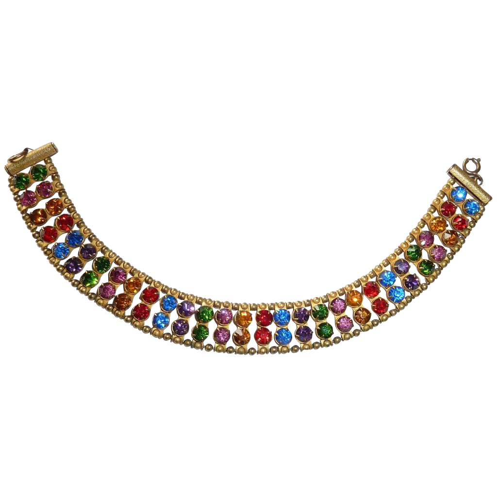 Art Deco Brass Bracelet 2 Row Multi Colored Rhinestones