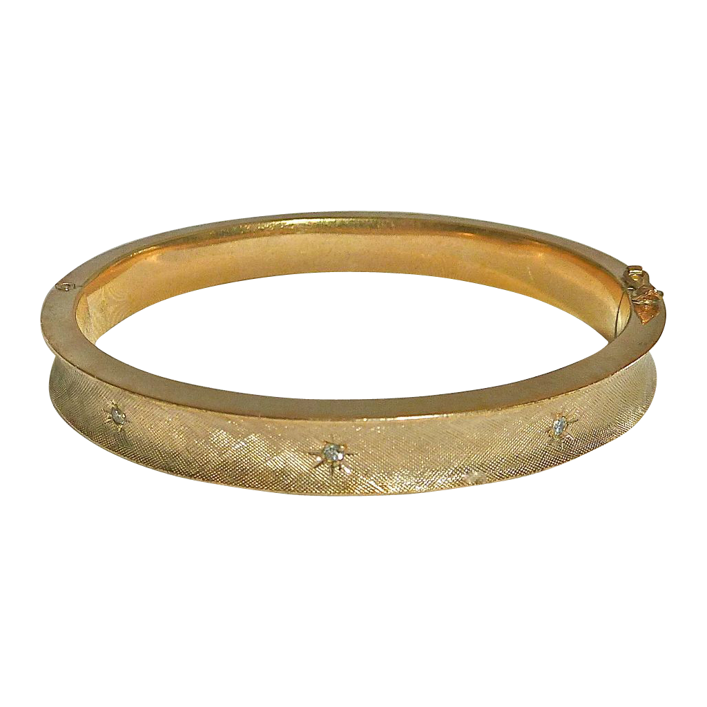 Brushed Gold Filled Hinged Bangle w Star Set Diamonds