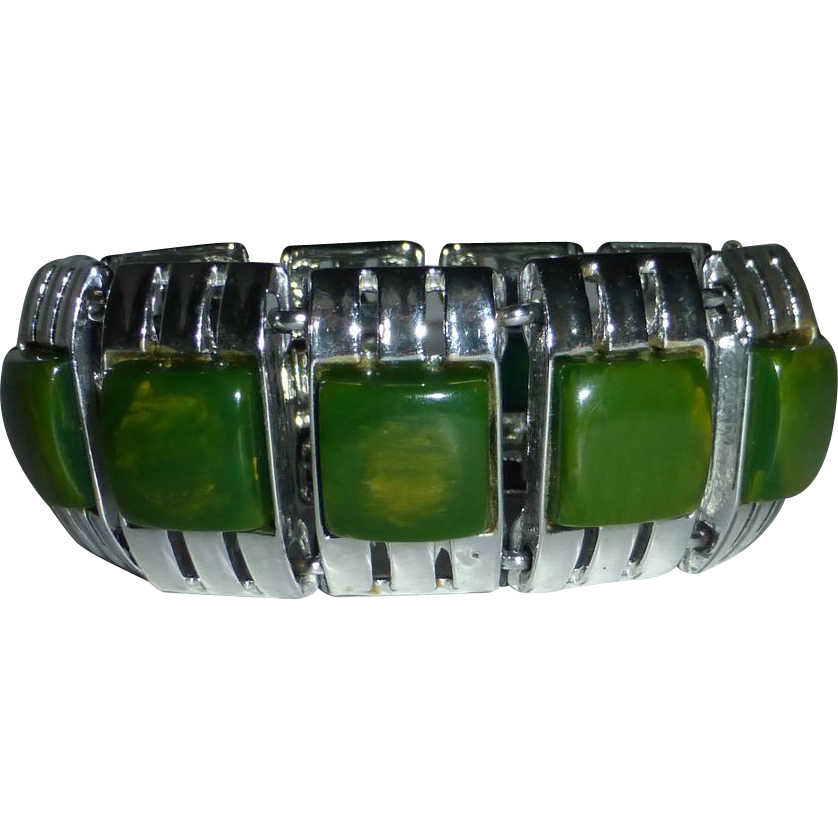 End-of-the-Day-Green Bakelite & Chrome Panel Bracelet
