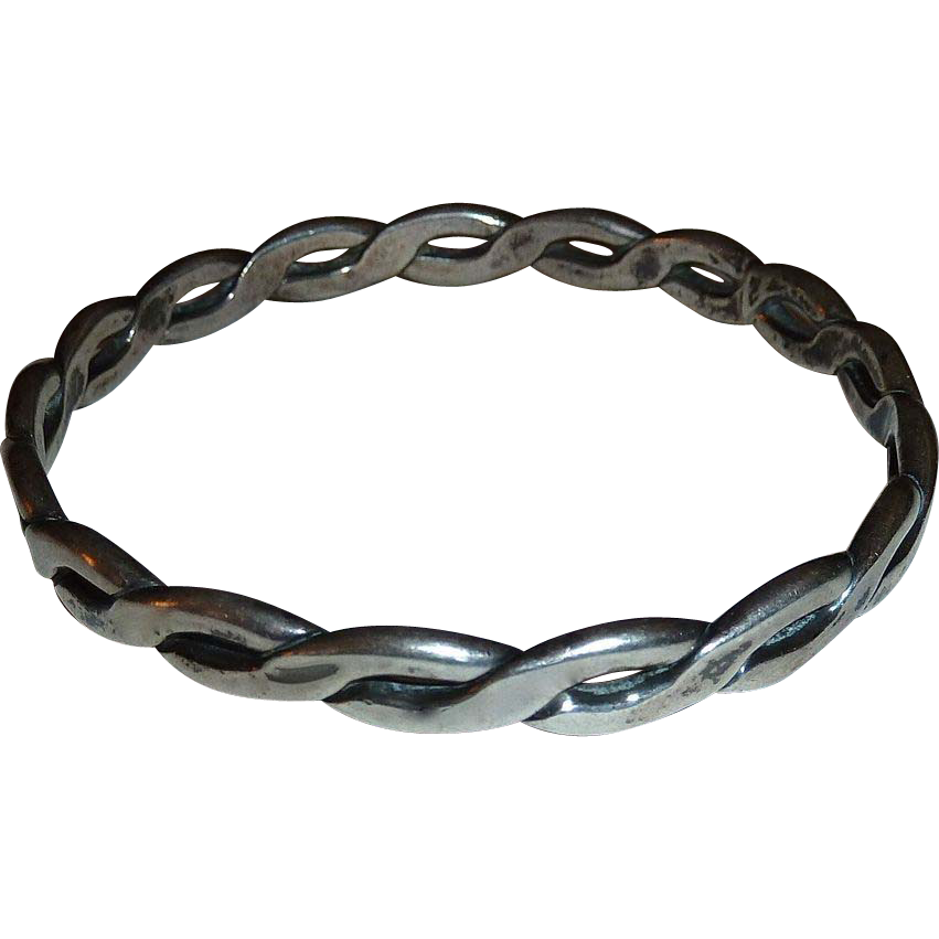 Sterling Silver Heavy Twisted Wire Bangle Bracelet Sold On