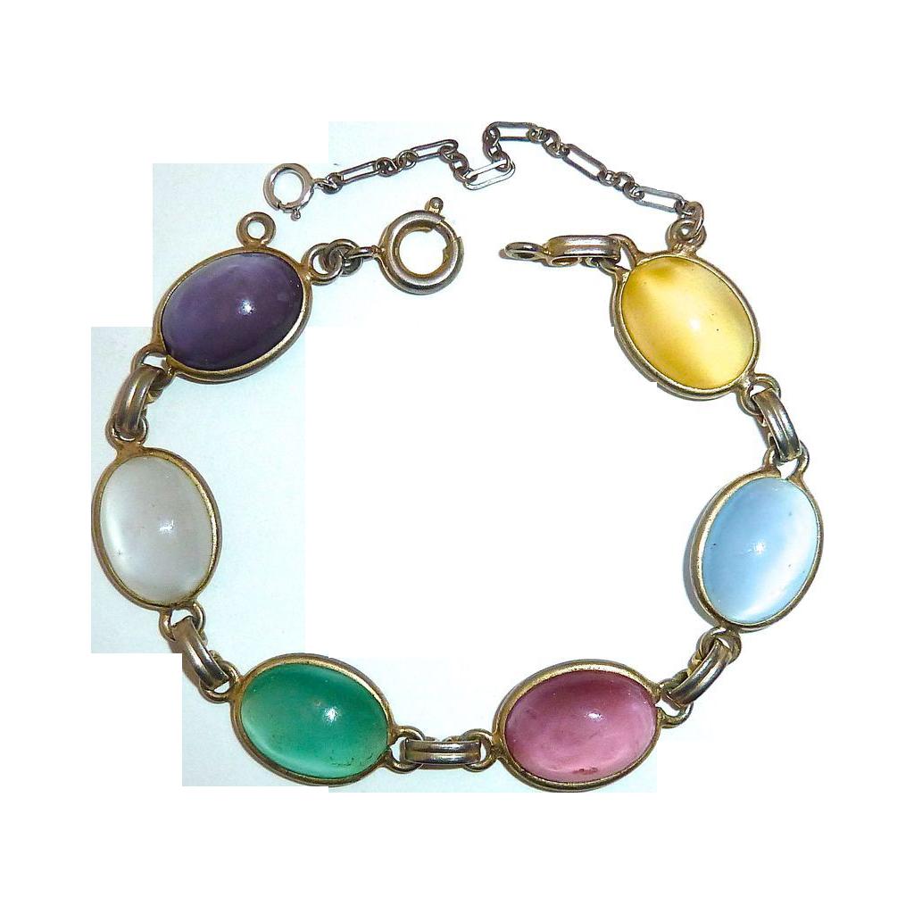 Pastel Pearl Glass Six Cabochon Silver Tone Bracelet