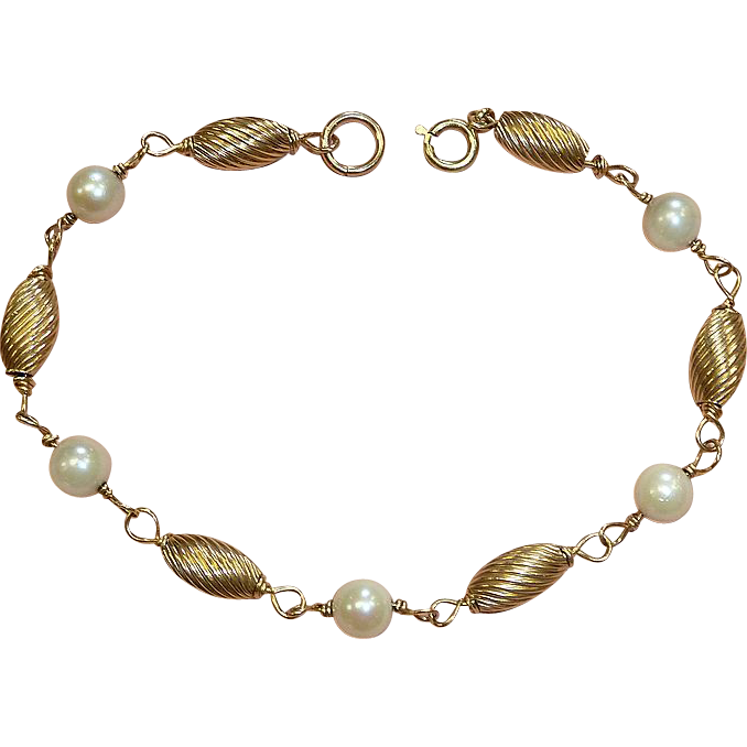 14k Bracelet Cultured Pearls & Oval Fluted Gold Beads