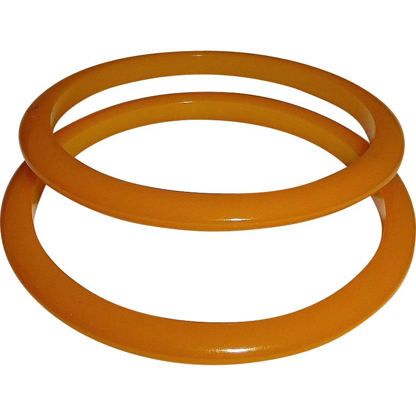 Set of 2 Amber Yellow Bakelite Bangle Bracelets