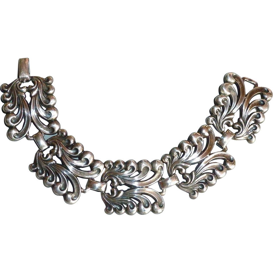 Wide Sterling Link Bracelet Curling Foliate Design