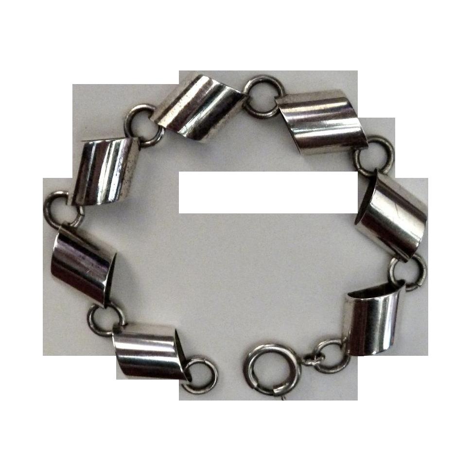 Napier Sterling Sculptural Geometric Link Bracelet