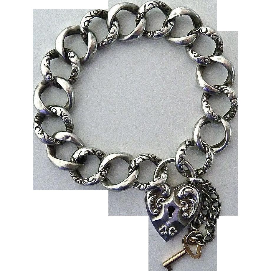 Antique Victorian Sterling Repousse Heart Lock Bracelet GF Key