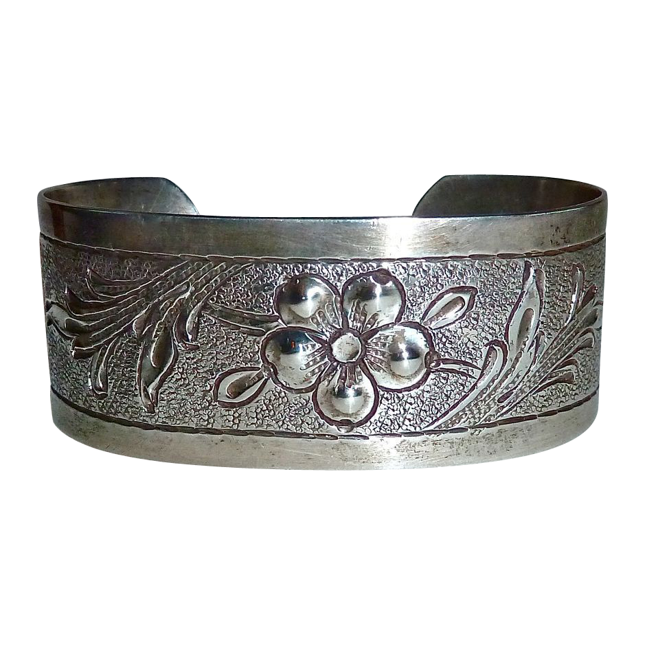 Handcrafted Sterling Floral Repousse Cuff Bracelet