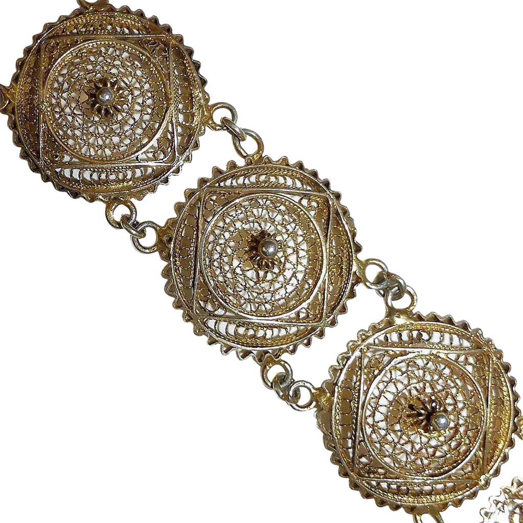 Sterling Filigree Gold Wash Round Link Bracelet