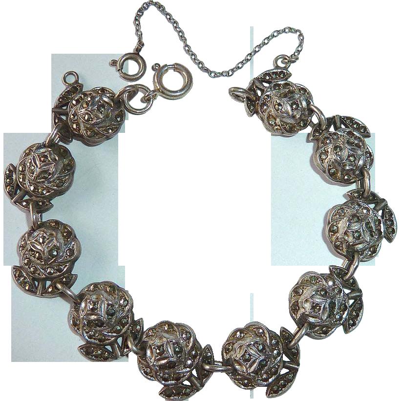 Sterling Marcasite Bracelet of Roses c1950s