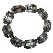 Mexican Sterling Art Deco Stepped Design w Abalone Inlay
