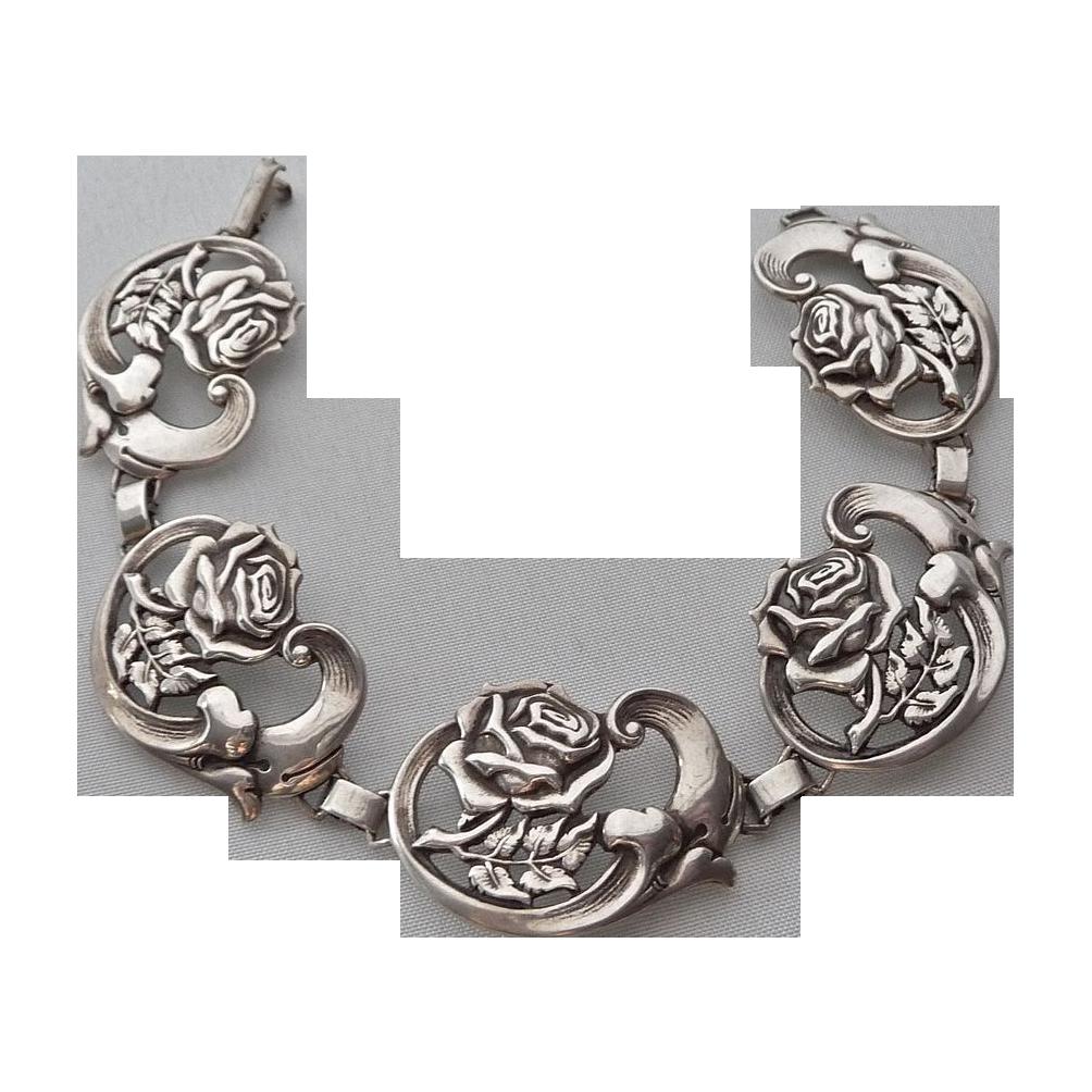 Vintage Sterling 5 Link Rose Art Moderne Bracelet