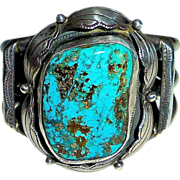Navajo Native American Sterling & Turquoise Cuff Bracelet