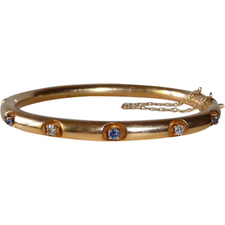 14k Hinged Bangle Bracelet with 3 Sapphires 2 Diamonds