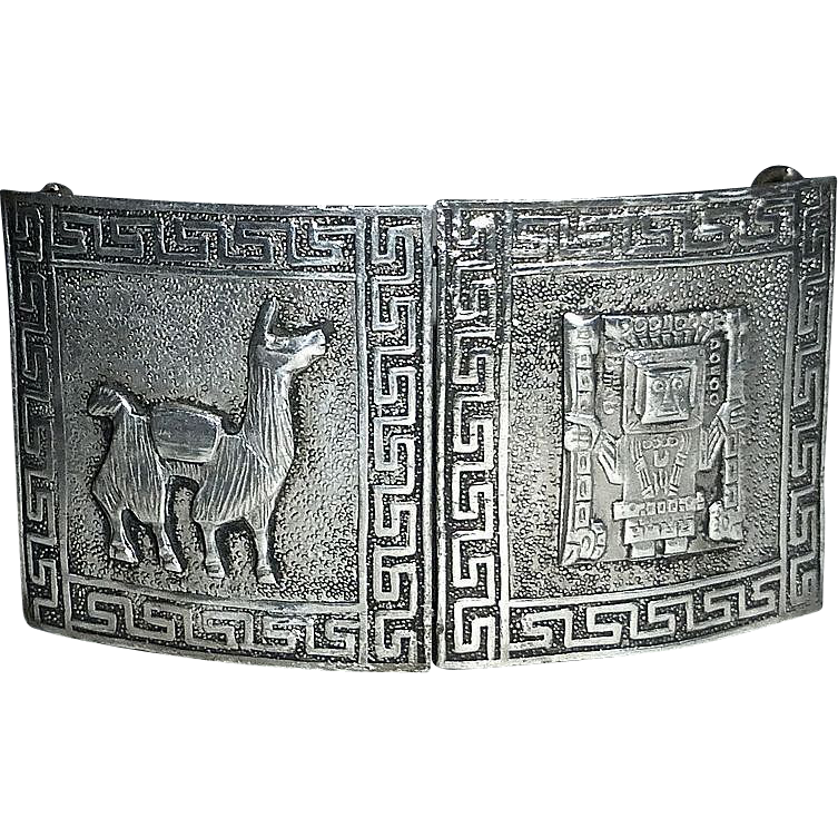 Peru Sterling 2 Piece Ethnic Belt Buckle