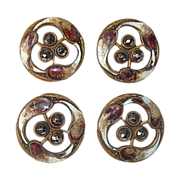 Victorian Gilt Brass Enamel Cut Steel Buttons Set 4