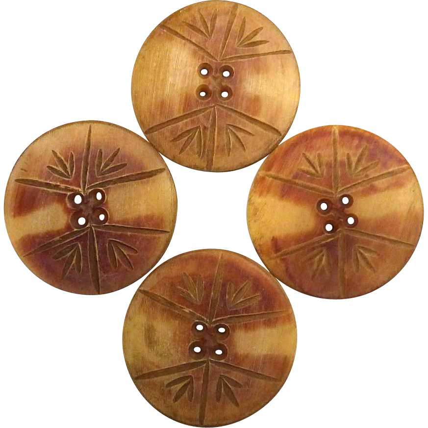 Carved Natural Horn Large Buttons Set of 4