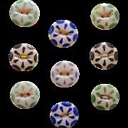 Nine Vintage China Color Stencil Buttons