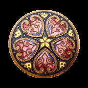 Victorian Hearts & Flowers Vibrant Enamel on Brass Button