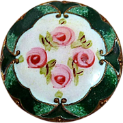 Antique Victorian Gilt Brass Enamel Button w Rosebuds