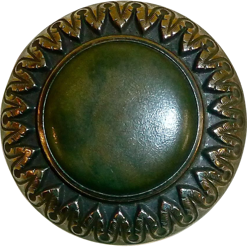 Large Victorian Brass Celluloid Jewel Button
