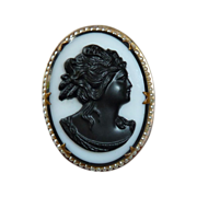 Victorian Revival Black & White Glass Cameo Pin