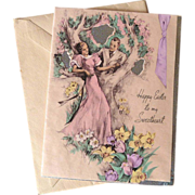 1930s Sweethearts Easter Greeting Card & Envelope