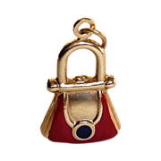 Adorable 14k Enamel Purse Charm