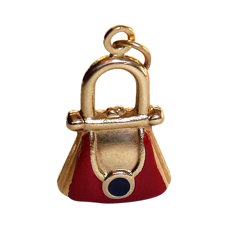 adorable 14k enamel purse charm from bejewelled on ruby