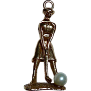 Kinetic Lady Golfer 14k YG Charm Cultured Pearl Ball