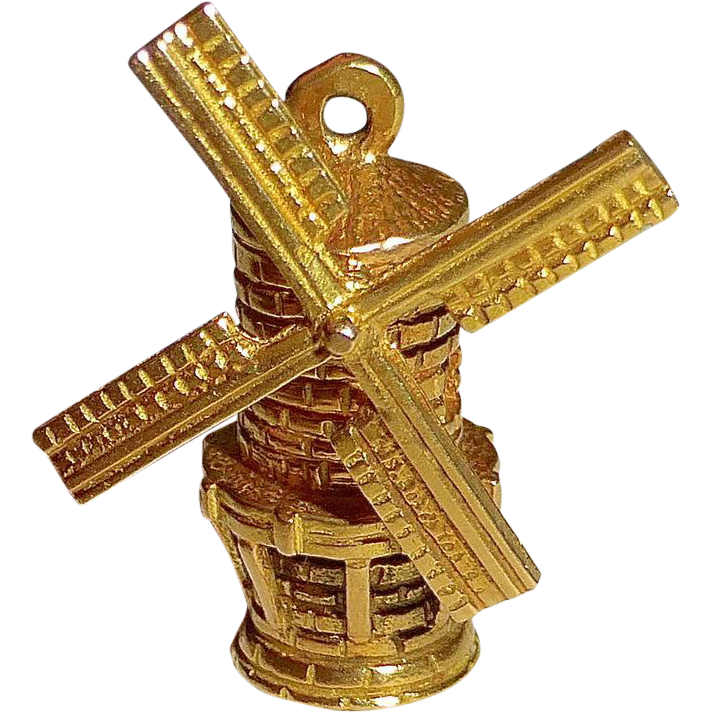 18k Yellow Gold Windmill Charm moves!
