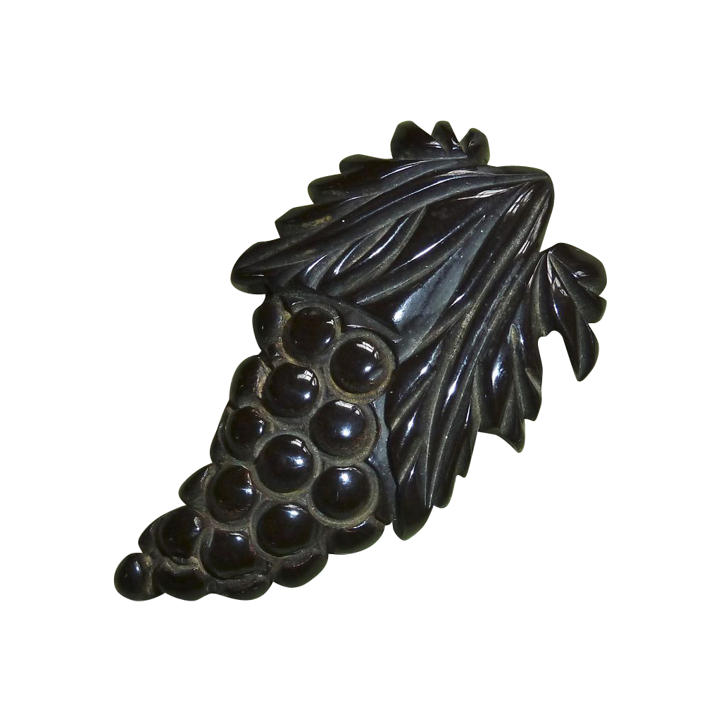 Figural Carved Grapes Dark Brown Bakelite Clip